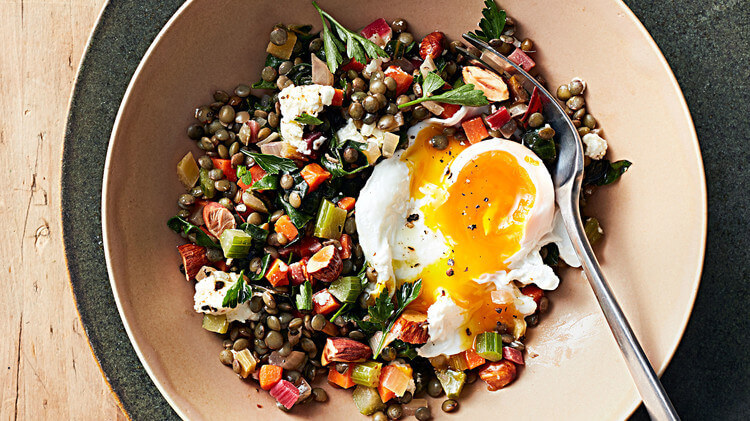 Lentil Salad with Poached Eggs Poached Eggs With Lentil Salad