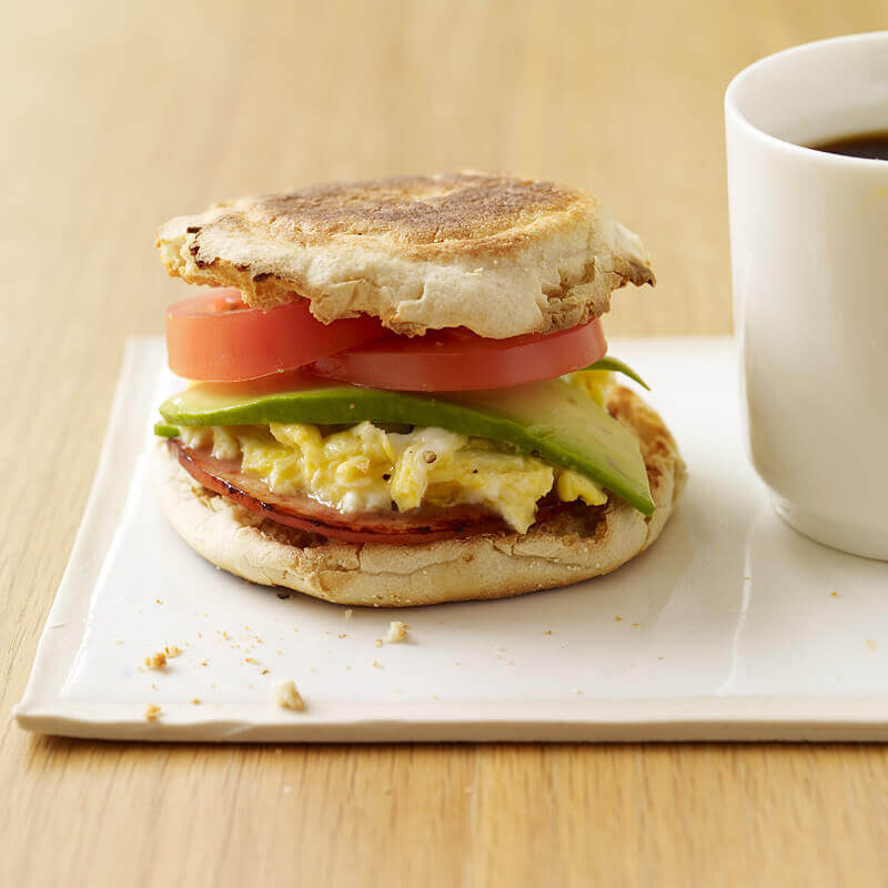 Tomato, Avocado Sandwich, and Egg