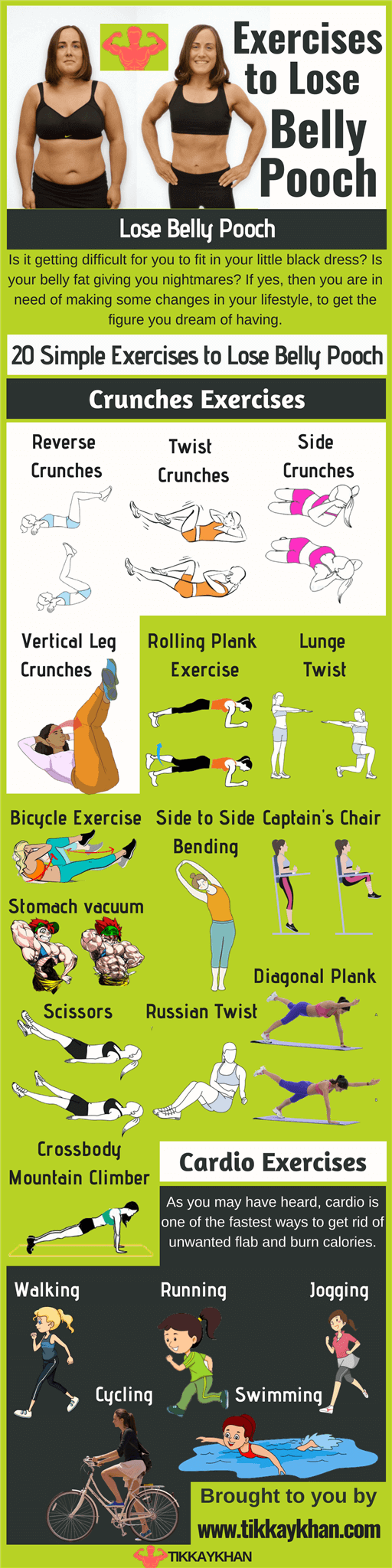 20 Simple Exercises to Lose Belly Pooch Infographic