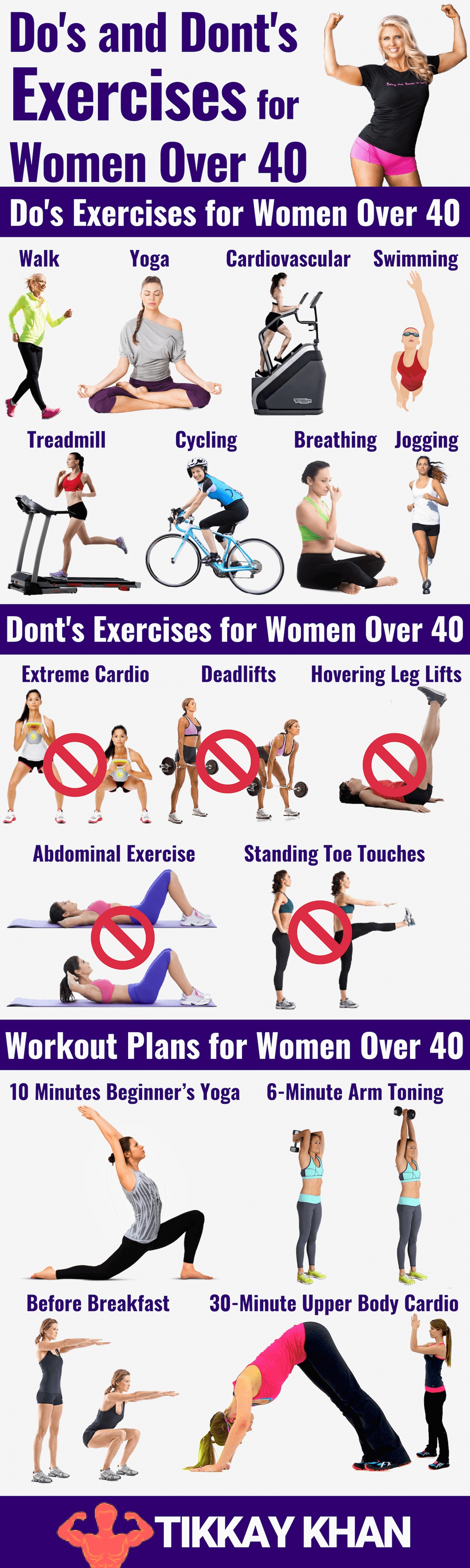 Exercises for Women Over 40 Infographic