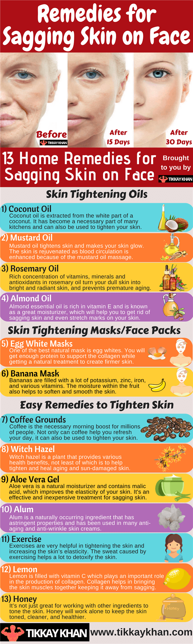 Remedies for Sagging Skin on Face Infographic