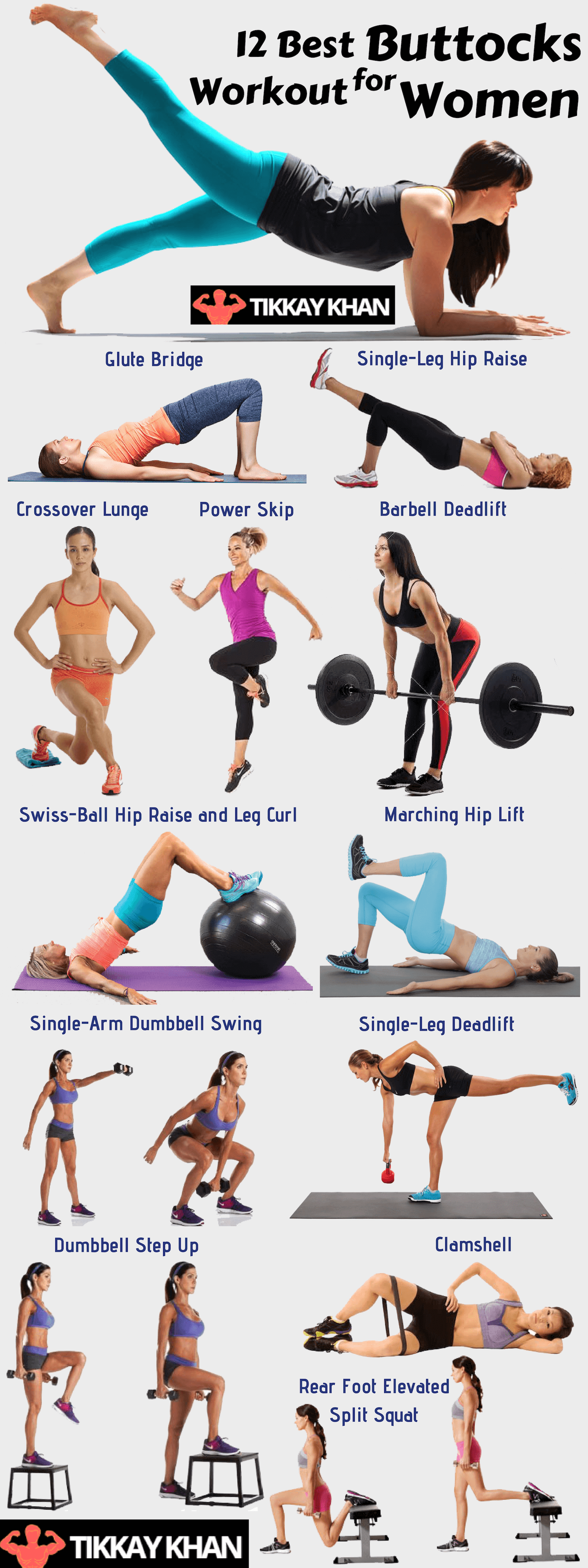 12 Best Buttocks Workout for Women Infographics