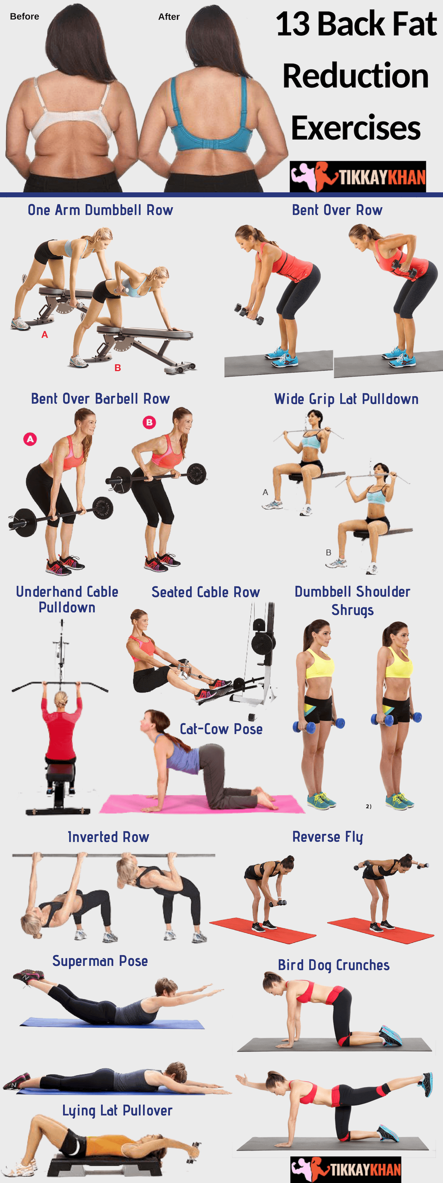 13 Back Fat Reduction Exercises Infographic