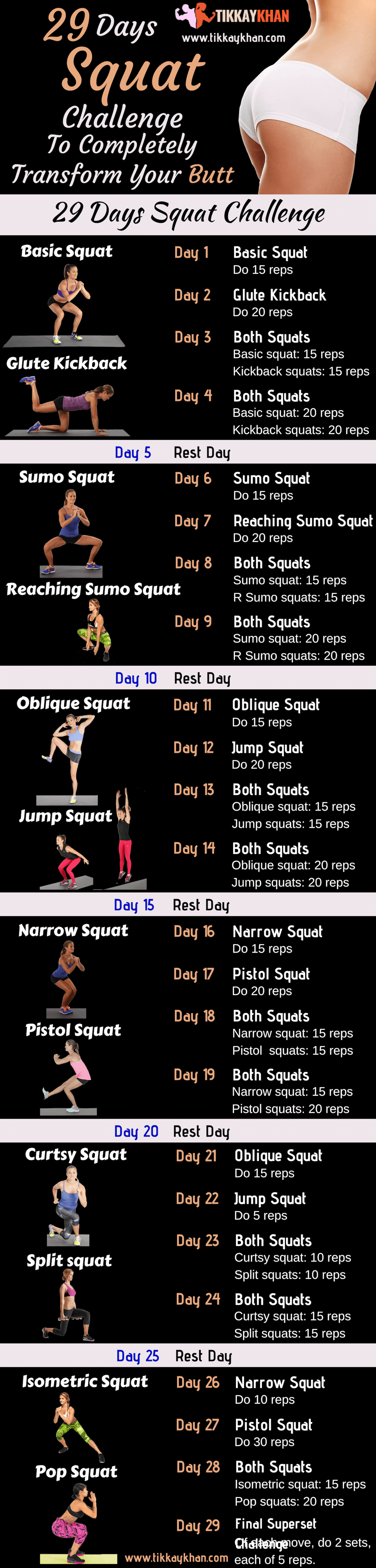 29 Day Squat Challenge Infographic