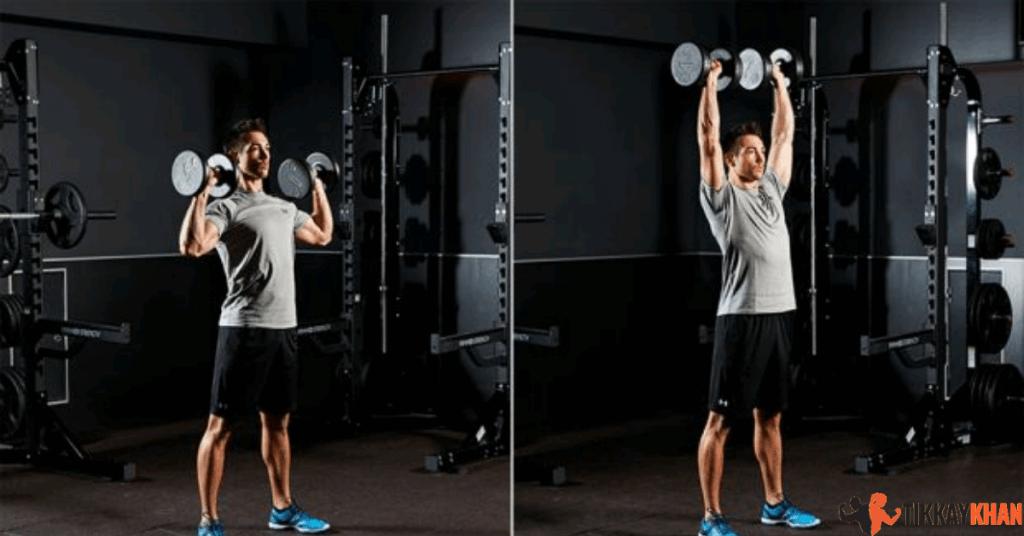 Standing Overhead (Dumbbell) shoulder Strains