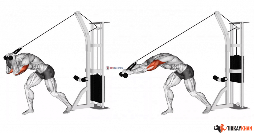cable overhead triceps extensions